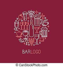 矢量, 酒吧, 标识语, 在中, 线性, 风格