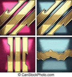 矢量, 金屬, 背景, 集合, 由于, 黃金, 元素