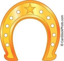 矢量, 金色, horseshoe, 带, 星