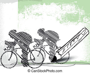 矢量, 鉛筆, bikers., 圖畫, 插圖
