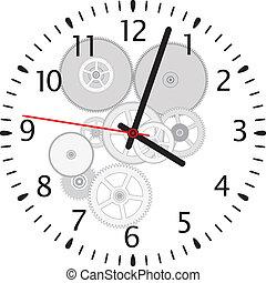 矢量, 鐘, 以及, 齒輪