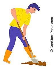 矢量, 铁锨, 园丁, 农场, 土壤, 挖掘