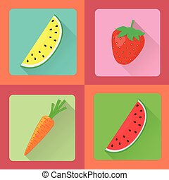 矢量, 集合, 水果, 圖象