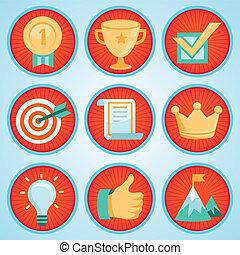 矢量, 集合, 由于, 成就, 以及, 獎品, 徽章