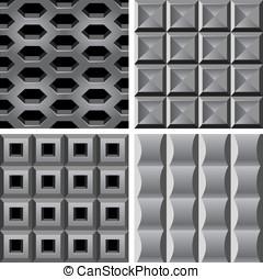 矢量, 集合, 由于, 金屬, seamless, 圖樣