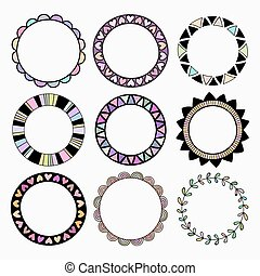矢量, 集合, ......的, 九, 不同, 上色, frames.