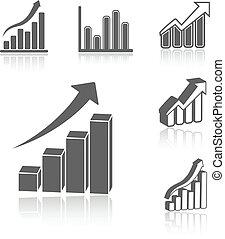 矢量, 集合, ......的, 事務, 統計, 圖表, -, infographic, 圖象, 符號