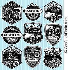 矢量, 集合, ......的, 徽章, 為, 做廣告, 汽油, retro, 汽車, 或者, moto