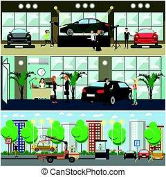 矢量, 集合, ......的, 汽車, 概念, 海報, 旗幟, 在, 套間, 風格