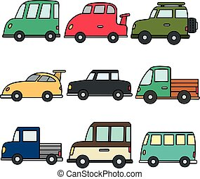 矢量, 集合, ......的, 汽車