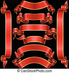 矢量, 集合, ......的, 紅色, 旗幟, 帶子
