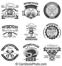 矢量, 集合, ......的, 葡萄酒, 摩托車, 象征, 標籤, 徽章, 以及, 理念