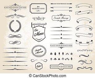 矢量, 集合, ......的, 葡萄酒, calligraphic, 元素