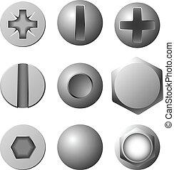 矢量, 集合, ......的, 螺絲, 螺栓, 以及, 鉚釘