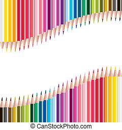 矢量, 集合, ......的, 被給上色鉛筆