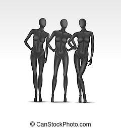 矢量, 集合, ......的, 被隔离, 女性, 人體模型