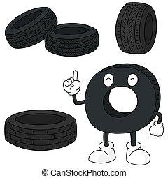 矢量, 集合, ......的, 輪胎