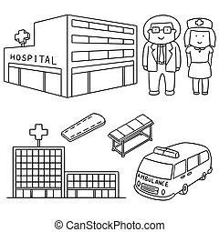 矢量, 集合, ......的, 醫院