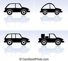 矢量, 集合, ......的, 黑色, 汽車