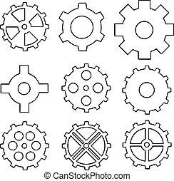 矢量, 集合, ......的, 齒輪