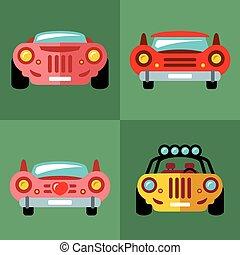 矢量, 集合, ......的, cars., 套間, 風格, 鮮艷, 卡通, illustration.