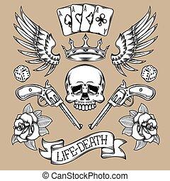 矢量, 集合, ......的, tattoos.