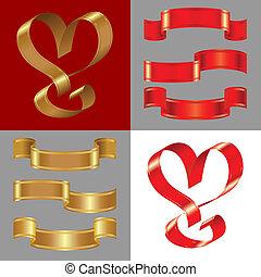 矢量, 集合, ......的, the, 晴朗, 金, 以及, 紅色, 帶子