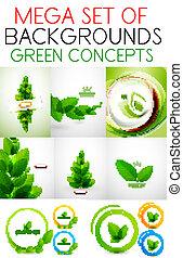 矢量, 集合, 綠色, mega, 概念
