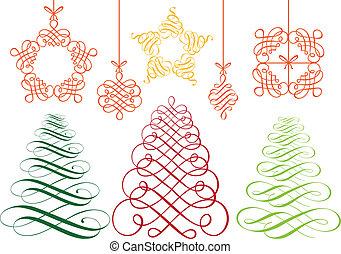 矢量, 集合, 裝飾品, 聖誕節