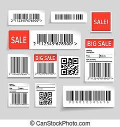 矢量, 集合, 銷售, barcode, 標簽