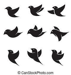 矢量, 集合, 鳥, 圖象
