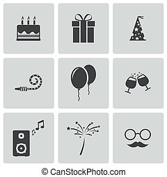 矢量, 集合, 黑色, 生日, 圖象
