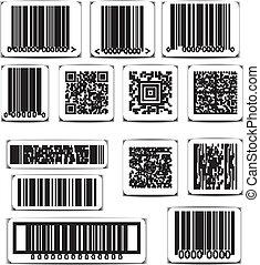 矢量, 集合, barcode, 標簽