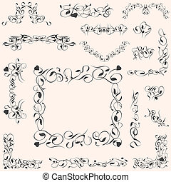 矢量, 集合, calligraphic, 葡萄酒, 設計元素, 裝飾