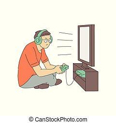 矢量, 電視游戲, 癮, 概念, 由于, 年輕, 地圖