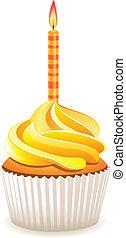 矢量, 黃色, cupcake, 由于, 燃燒