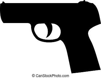 矢量, 黑色半面畫像, 槍