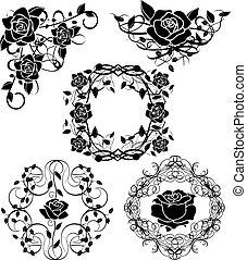 矢量, 黑色半面畫像, ......的, 玫瑰, flourishes