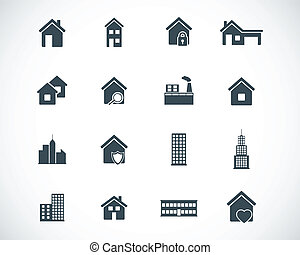 矢量, 黑色, 建筑物, 图标, 放置