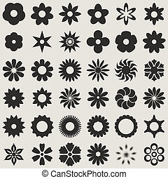 矢量, 黑色, 摘要, 白色, 蓓蕾, set., 花, 形状
