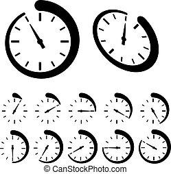 矢量, 黑色, 绕行, 定时器, 图标