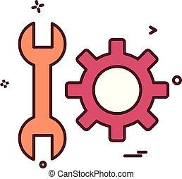 矢量, 齿轮, 放置, 设计, wrench, 图标