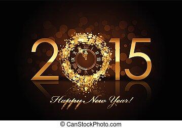 矢量, 2015, 高兴的新年, 背景, 带, 金子, 钟