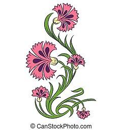 矢量, carnations, 圖畫