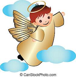 矢量, des, 飛行, 云霧, 天使