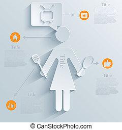 矢量, eps10, 家庭主婦, infographic, 背景, design.