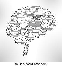 矢量, eps10, 形式, 插圖, 腦子, 背景, 板, 電路, 技術