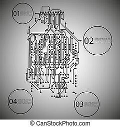 矢量, eps10, 插圖, 背景, infographic, 設計, 電路, 微型晶片, 電子
