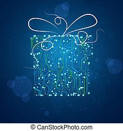 矢量, eps10, 禮物, 插圖, 背景, 板, 電路, 技術, 聖誕節