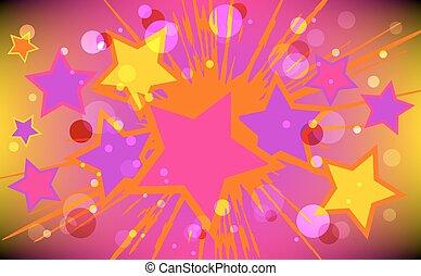 矢量, explode., 星, 插圖, 鮮艷